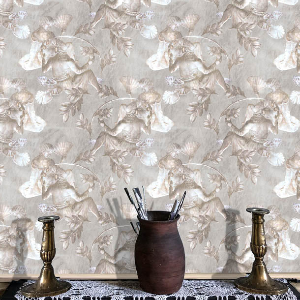 Charles and Nell Wallpaper (simple-grey-pearl)Funky Abstract Wallpaper by ATADesigns