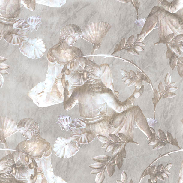 Charles and Nell Wallpaper (simple-grey-pearl) by ATADesigns