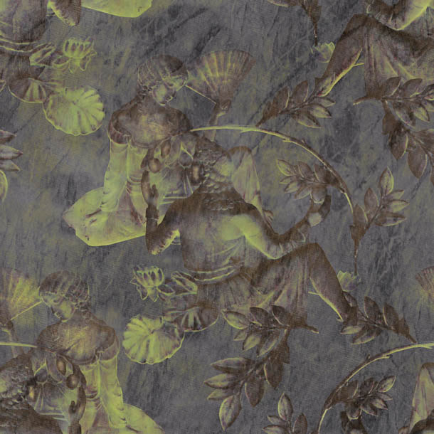 Charles and Nell Wallpaper (slate-grey-pearl)Funky Abstract Wallpaper by ATADesigns