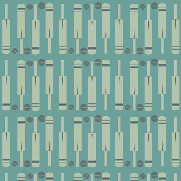 Cricket Bat and Ball Wallpaper (light-blue-green) by ATADesigns