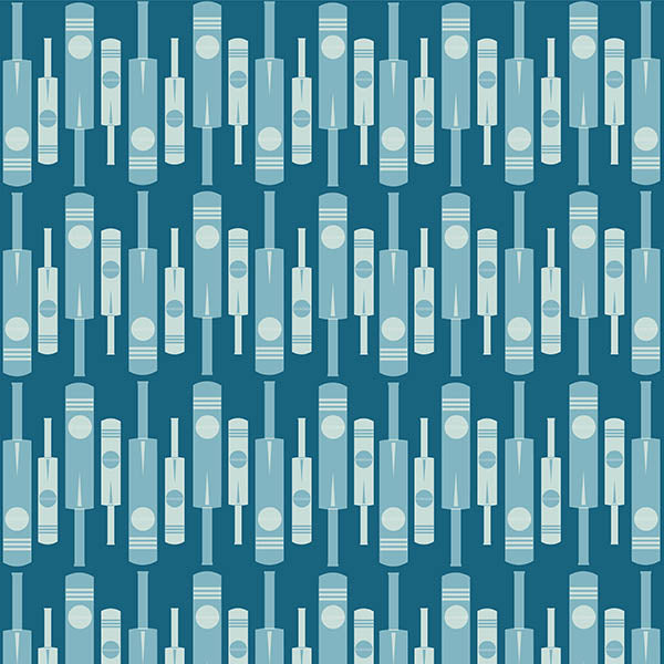 Cricket Bat and Ball Wallpaper (tripple blue) by ATADesigns