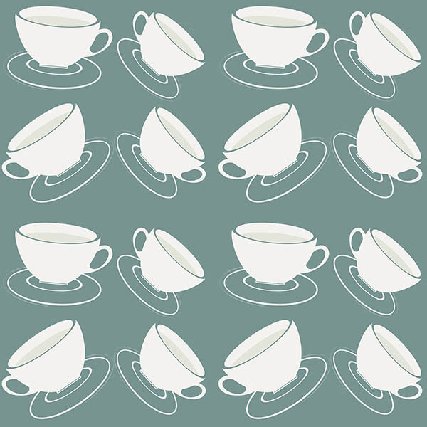 Cuppa Wallpaper (grey-green) by ATADesigns