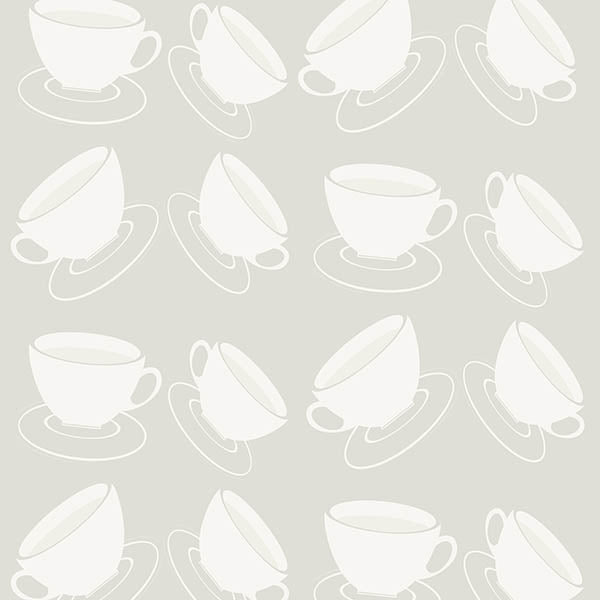 Cuppa Wallpaper (light-grey) vy ATADesigns
