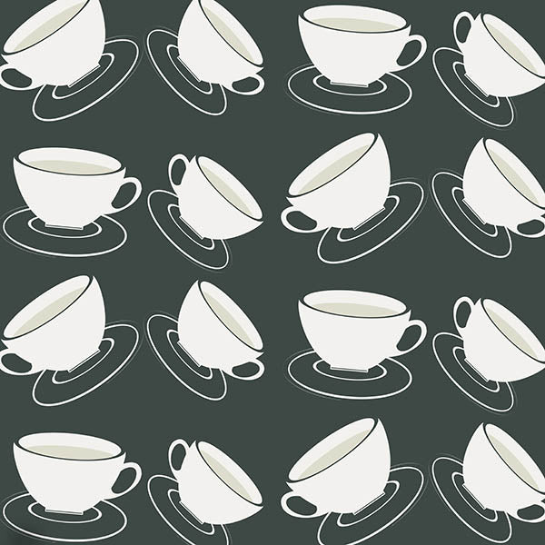 Cuppa Wallpaper (off-black) by ATADesigns