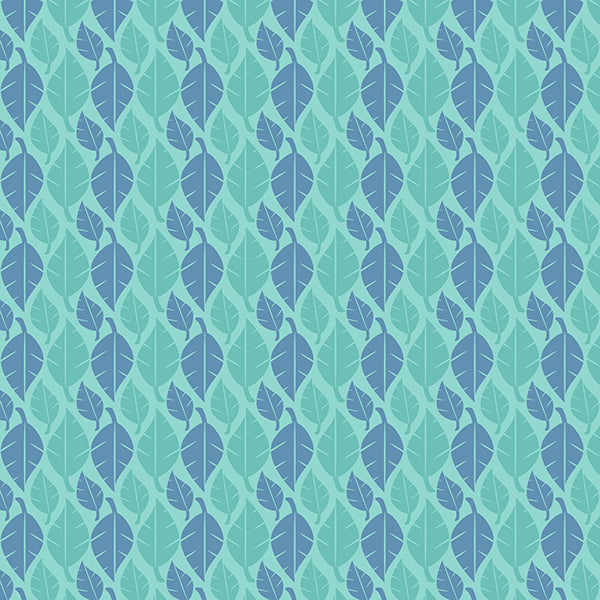 Fallen Leaves (bluey-green-on-pastel-blue) Wallpaper by ATADesigns
