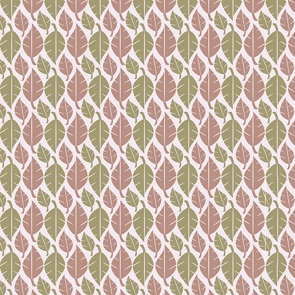 Fallen Leaves (coffee-green-on-white) Wallpaper by ATADesigns