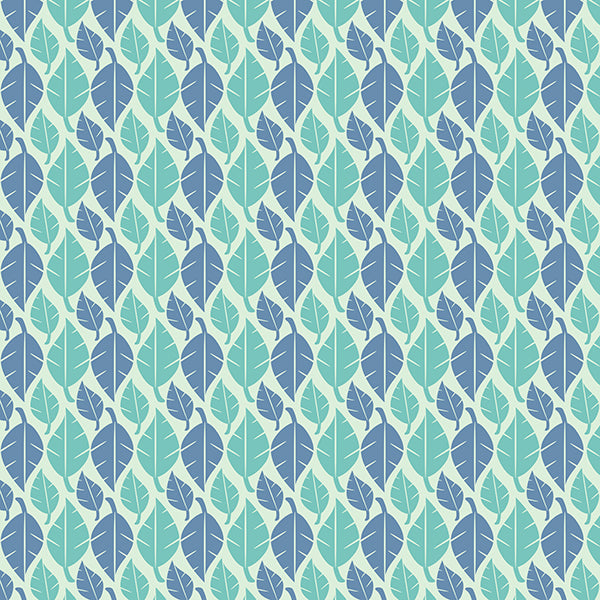 Fallen Leaves (pastel-bluey-green-on-cream) by ATADesigns
