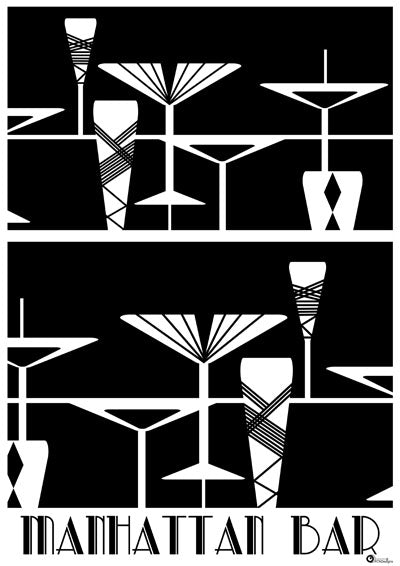 Manhattan Bar Art Deco Art Print (white-on-black)