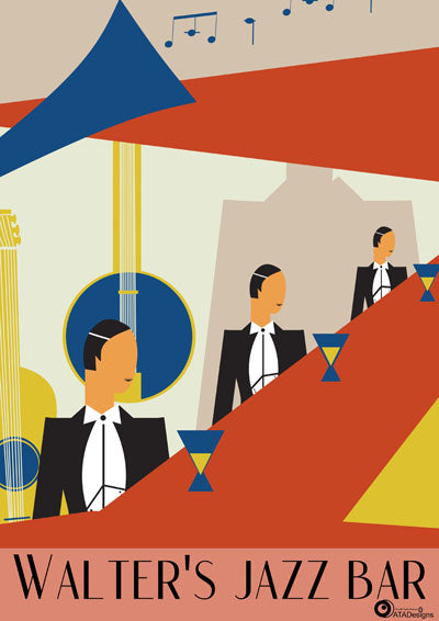 Walter's Jazz Bar Art Deco Art Print