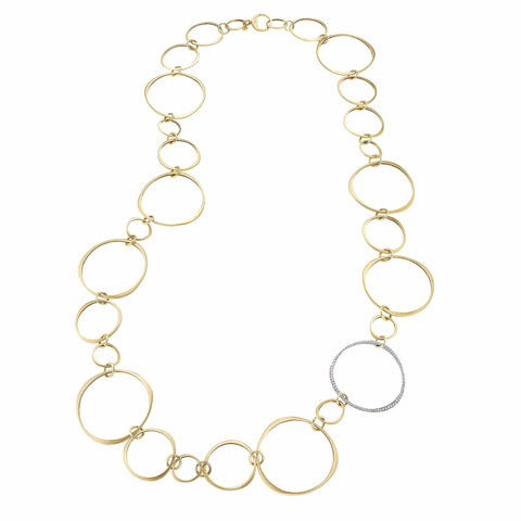 Halo Link Chain Necklace with Diamond Pave