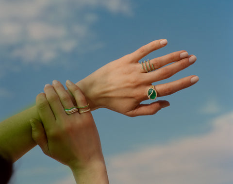 Emerald and Diamond Baguette Double Bar Ring