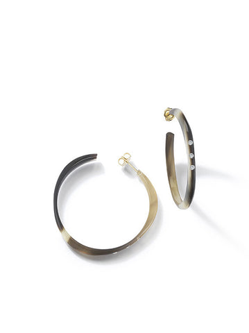 Halo Hoop Medium Water Buffalo Horn Earrings with Diamonds