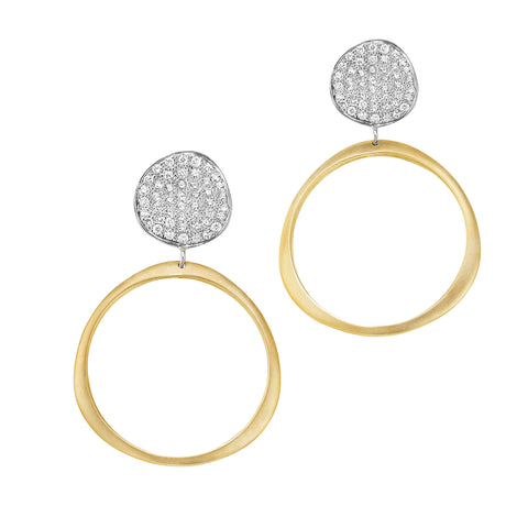 Petite Origin Hoops with Diamond Pave Stud