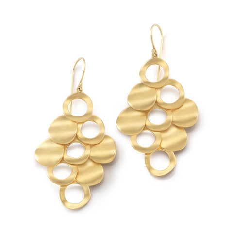 Nine Disc Mesh Earrings with Cutout Detail