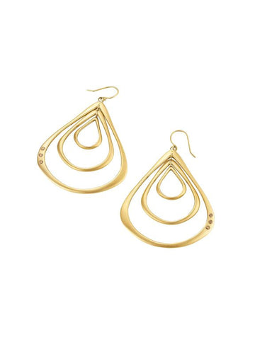 Halo Three Teardrop Earrings with Diamonds