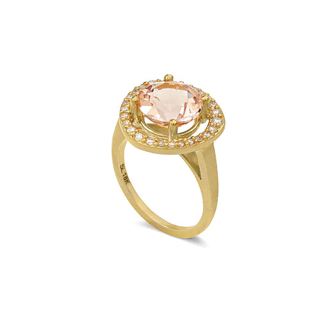 Anniversary Morganite and Diamond Halo Ring