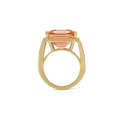 Anniversary Morganite Cocktail Ring with Diamond Pave