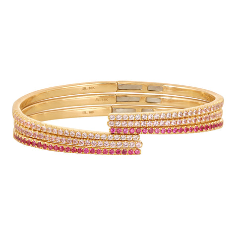 Rose Hinge Bangles - Pale Pink Sapphire, Dusty Rose Sapphire, Ruby