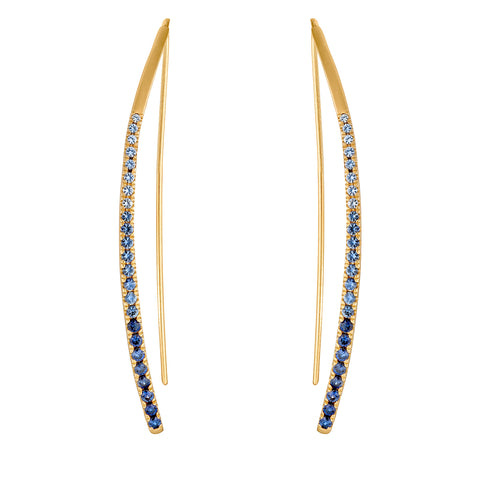 Ombre Blue Sapphire Bowed Earrings
