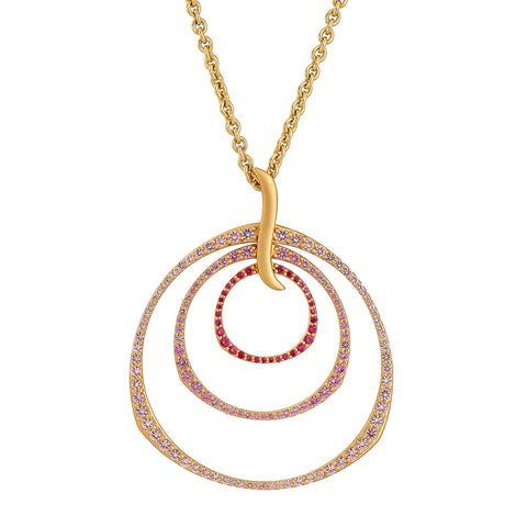 Ombre Rose Triple Hoop Pendant Necklace