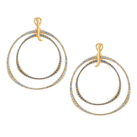 Oversized Ombre Blue Sapphire Double Hoop Earrings