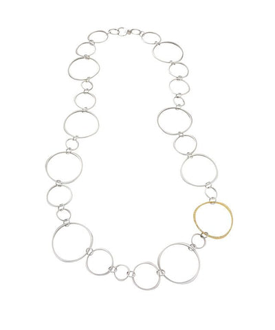 Halo Link Chain Necklace with Diamond Pavé