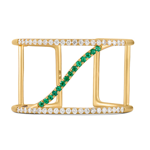 Emerald and Diamond Sol Cuff