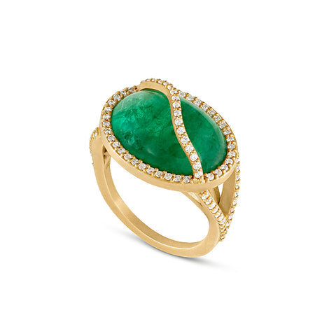 Emerald Cage Ring with Diamond Pavé