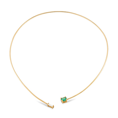 Emerald and Diamond Open Collar Necklace