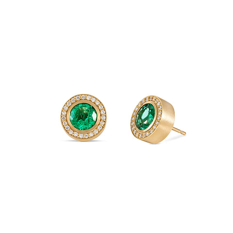 Emerald and Diamond Pave Stud Earrings