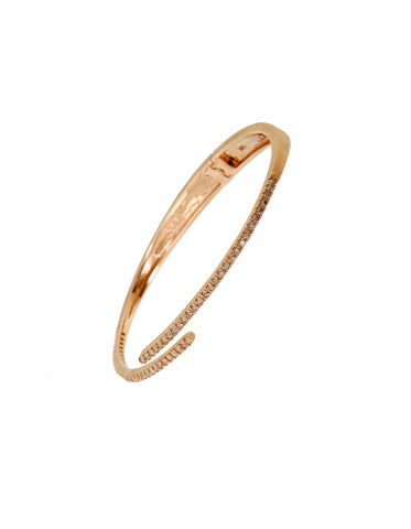 Diamond Hinge Bangle - Yellow Gold with White Diamonds, Pink Gold with Champagne Diamonds