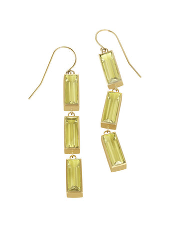 Luminous Small Rectangle Triple Earrings - Lemon Citrine