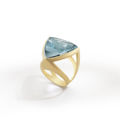 Luminous Large Triangle Ring - Blue Topaz