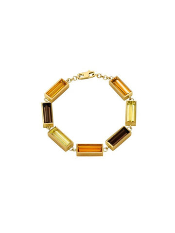 Luminous Small Linked Rectangle Bracelet - Smoky Quartz, Citrine, Lemon Citrine
