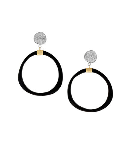 ZIYA Horn Hoops with Pave Studs
