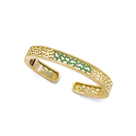 Sahara Hinge Cuff with Emeralds