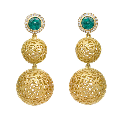 Emerald Double Ball Drop Earrings