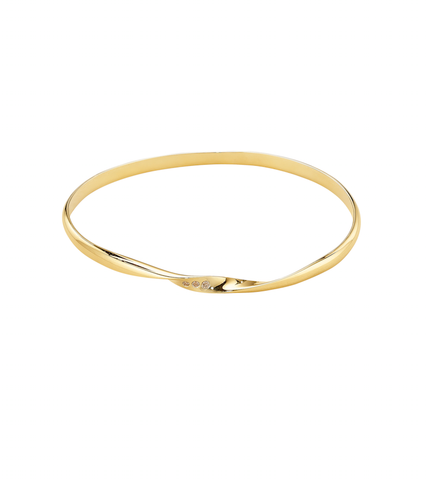 Sweet Charity Twist Bangle - 18K Yellow Gold with Diamonds