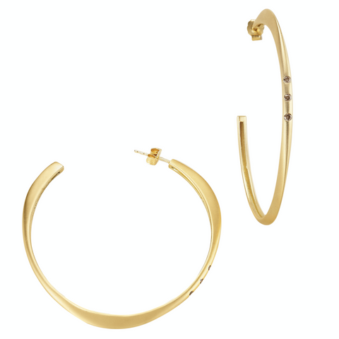 Halo Hoop Large Earrings with Diamonds