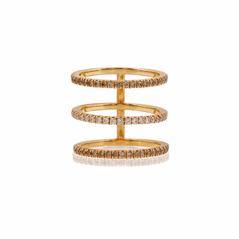Triple Bar Ring with Champagne and White Diamonds