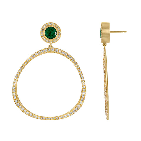 Diamond Pave Origin Hoops with Emerald and Diamond Studs