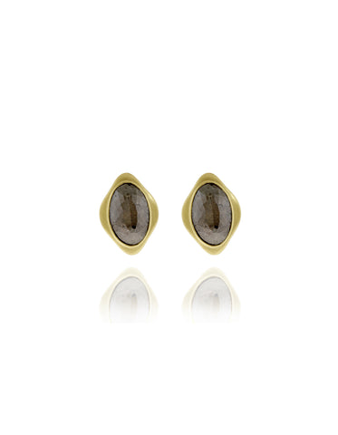 Black Diamond Oval Stud Earrings