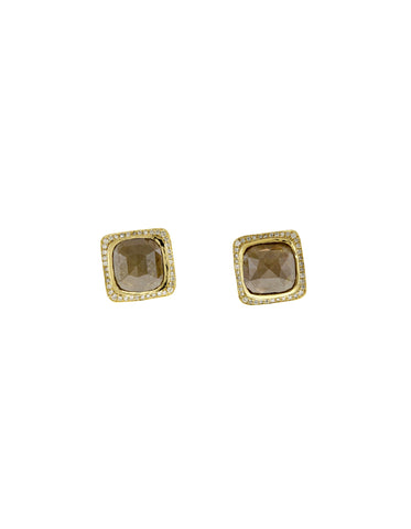 Black Diamond Cushioned Stud Earrings