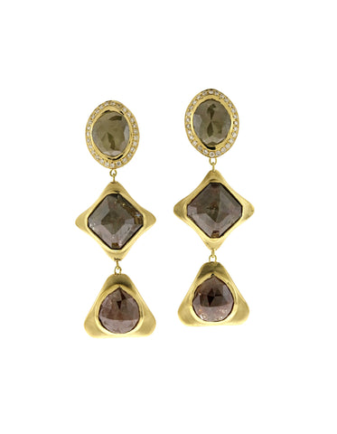 Black Diamond Triple Drop Earring
