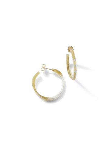 Halo Hoop Small Water Buffalo Horn Earrings with Diamonds