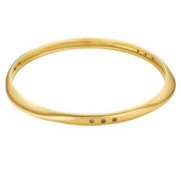 Thick Halo Bangle with Diamonds