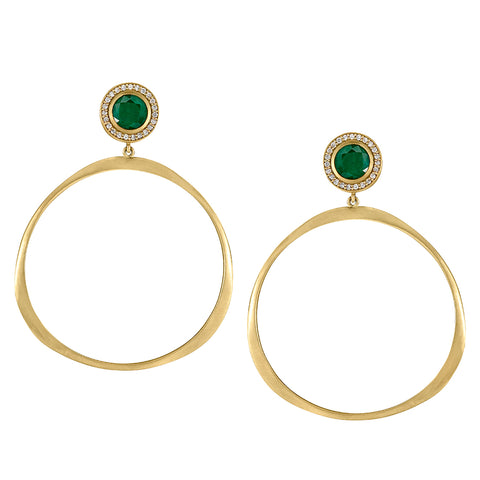 Oversized Origin Hoops with Emerald and Diamond Studs