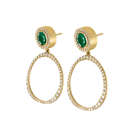 Petite Origin Hoops with Diamond and Emerald Studs