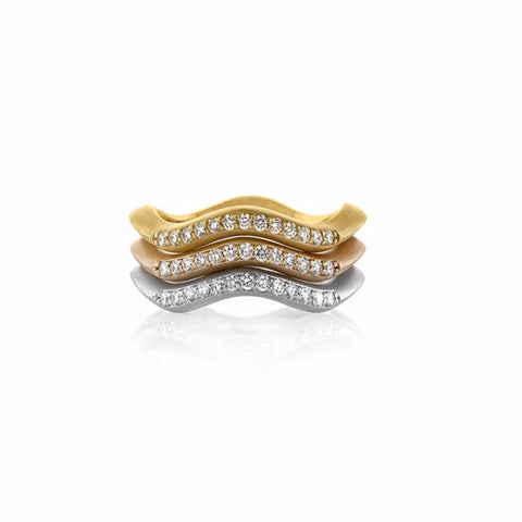 Canyon Stackable Rings with Diamonds