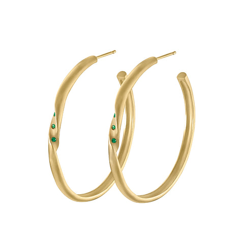 Twisted Hoop Earrings with Emeralds